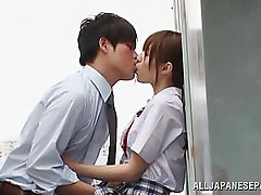 Amazing Asian teenage Rina Rukawa is into a naughty threesome in the classroom! Her horny classmates gets blowjobs and she gets a hardcore rear nailing and a cooch licking before stopping to piss. This teenage student knows how to entertain in am mmf fuck