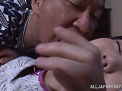 Alluring Japanese teen hottie Marin Aono gets teased by wild old fellow while she is ing. The fellow starts to kiss and gobble all her new young bod and adorable pussy. The sweet nymph shows him here skills, sucking his bone in horny 69 position, and gets