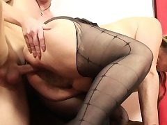 He pummels his girlfriends mom in pantyhose