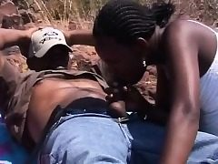 African Dark-hued Teens Blowjob Outdoors Four way