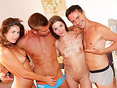 Awesome school sex party by the sea