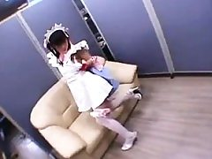 Lovely Japanese teenager in stockings gets her taut muff dri