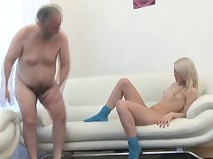 Enchanting young babe gives passionate ride to an old dude