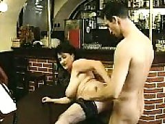 Dark haired in stockings sucks ginormous cock and plows it
