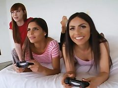 Stepbrother fucks gaming sister and her tight pals