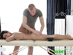 Alluring doll fucks with her masseur