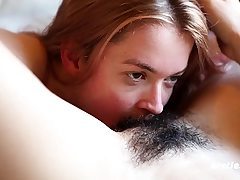 Unexperienced Lesbian Pussy Eating and Fake penis Nailing