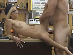 Very slim blond inhales off and plumbed by pawnshop owner