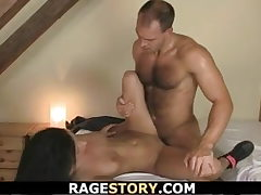 Messy bitch gets rough throat and pussy banged