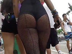 Candid hot latina booty in fishnets!!