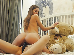 Lesbian school roommates strapon dildo sex with teddy hunk