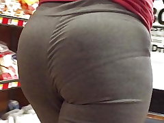 Black Shorty Jigglin VPL Ass in Grey Stretch pants