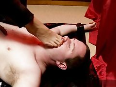 Horny guy gets predominated over him and she is walking all over his assets