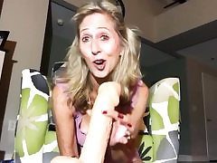 Perky light-haired is holding a huge fake penis well-prepped to fuck pussy fuck-hole