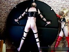 Super hot blond dressed in a spectacular peruke sexually abusing this horny older fellow