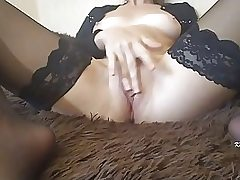 Immense booty woman is petting her dousing wet snatch in front of the camera, just for fun
