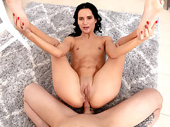 Teen black-haired first buttfuck hump